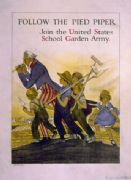 Vintage War Poster Follow the Pied Piper. Join the United States School Garden Army
